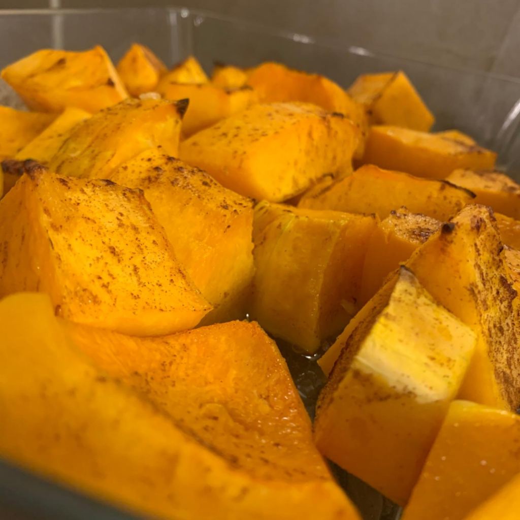 Butternut Squash after being cooked in the oven.